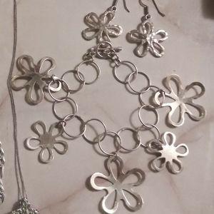 Sterling Silver 925 Flower Bracelet/ Earring Set